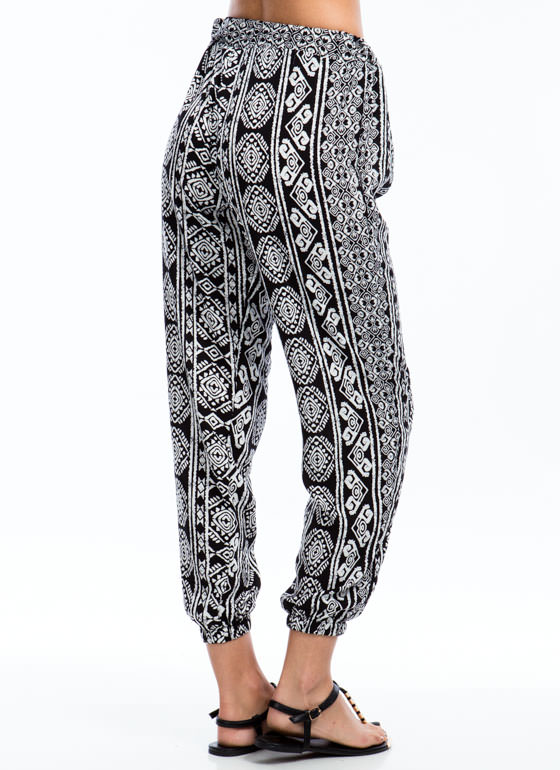 Column Sense Tribal Print Joggers BLACK