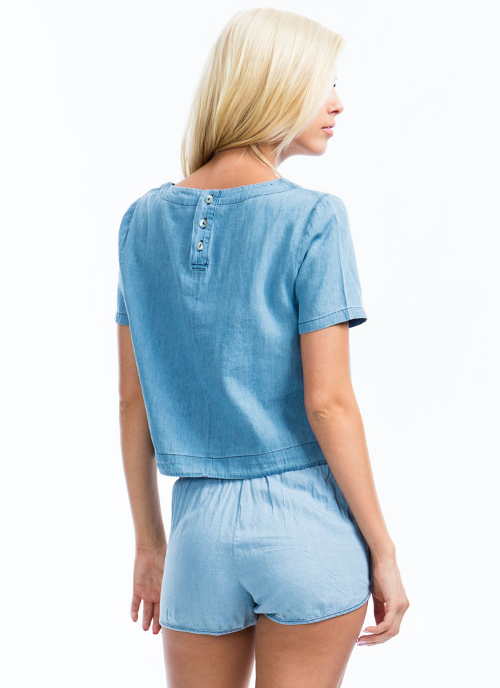 Play In Chambray Boxy Top BLUE
