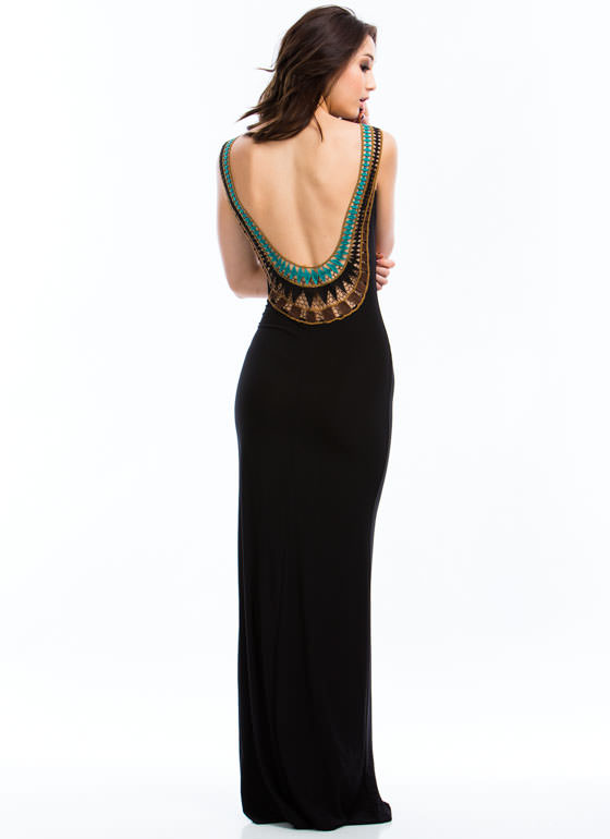 Plunging Embroidered Maxi Dress BLACK