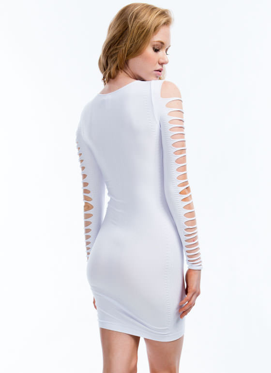 Slashed Bodycon Dress WHITE