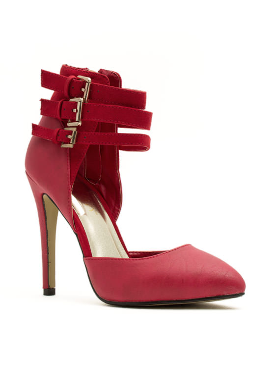 Tri-Buckle Strappy Heels RED