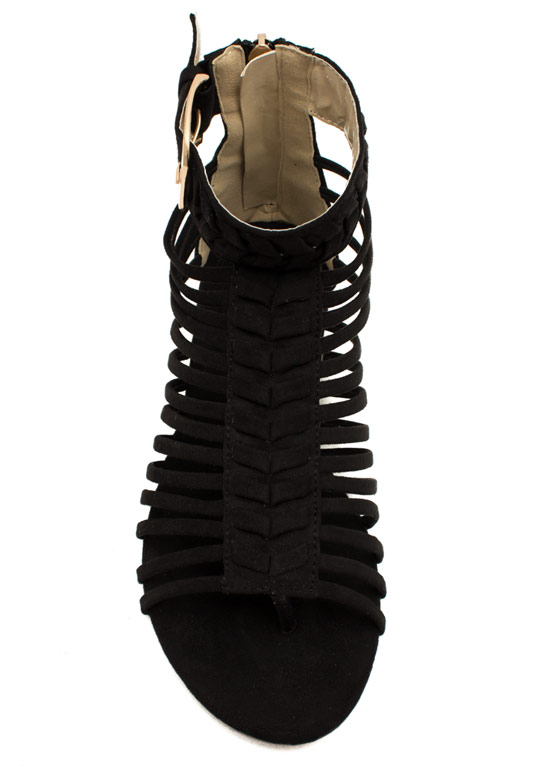 Caged Chevron Sandals BLACK