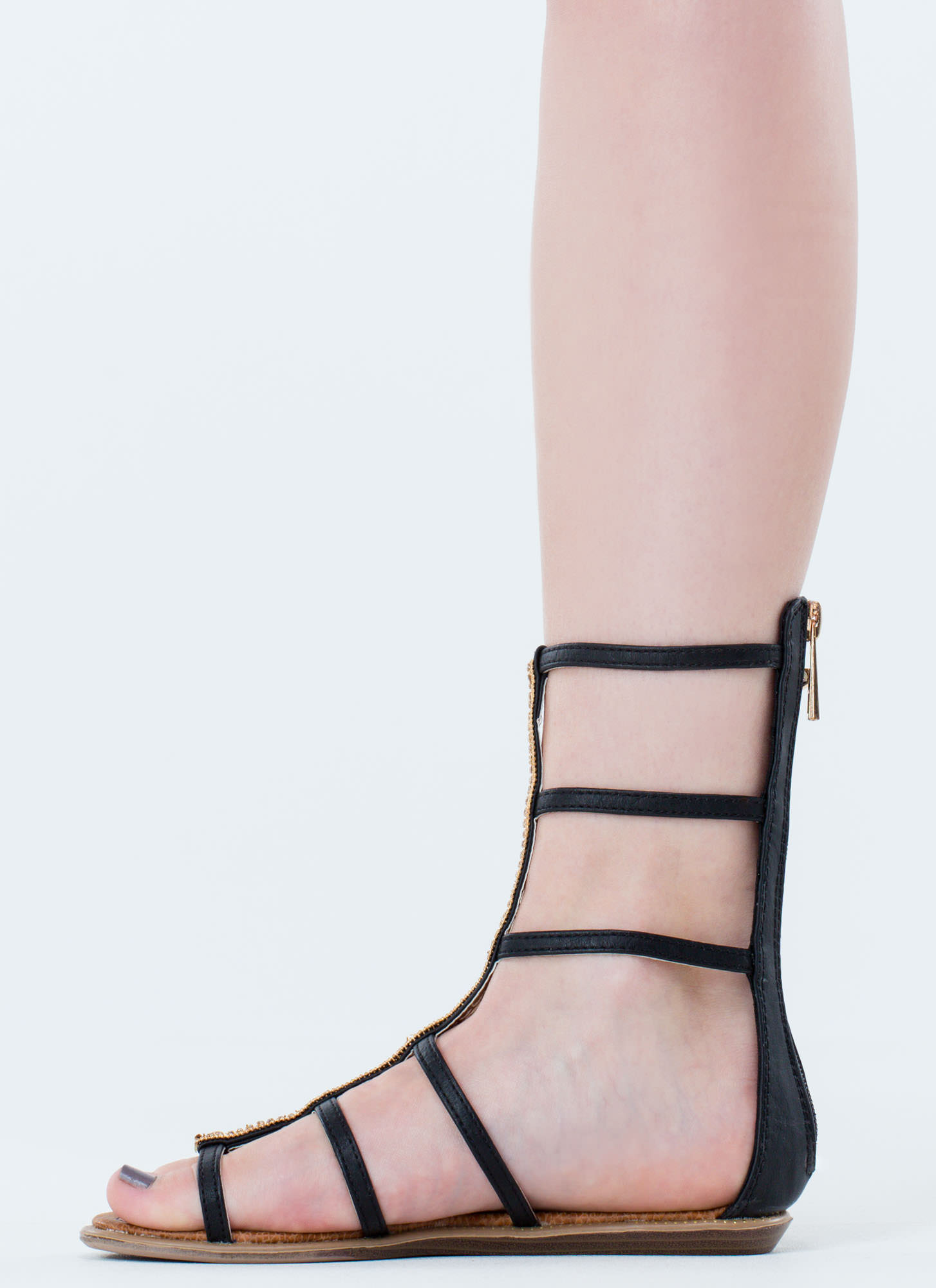 Embellished Action Gladiator Sandals BLACK