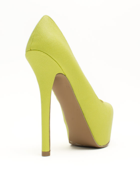 Classic Textured Platform Pumps LEMONLIME