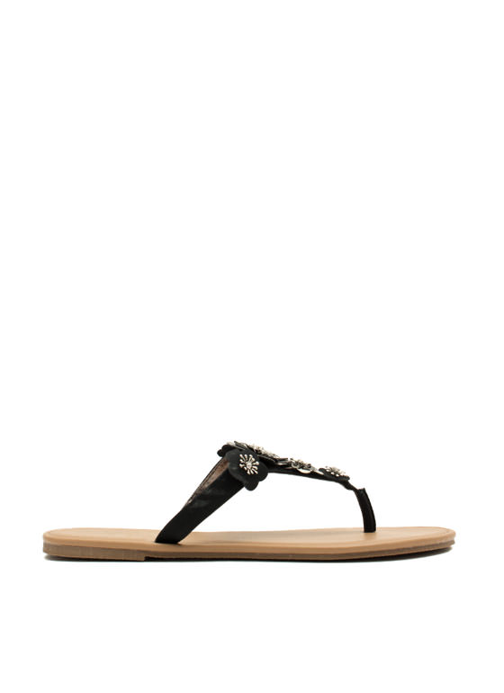 Garden Girl Flower Thong Sandals BLACK