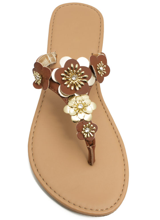 Garden Girl Flower Thong Sandals TAN