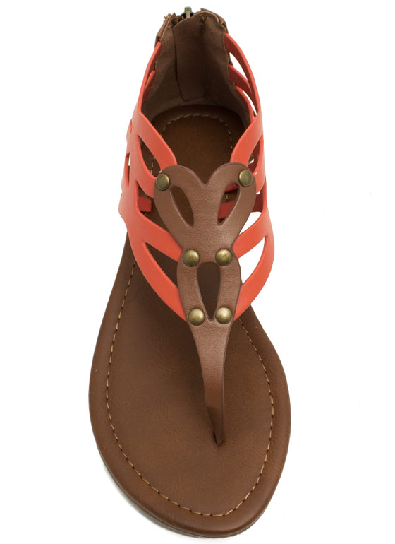 Colorblock Laser Cut-Out Sandals ORANGETAN