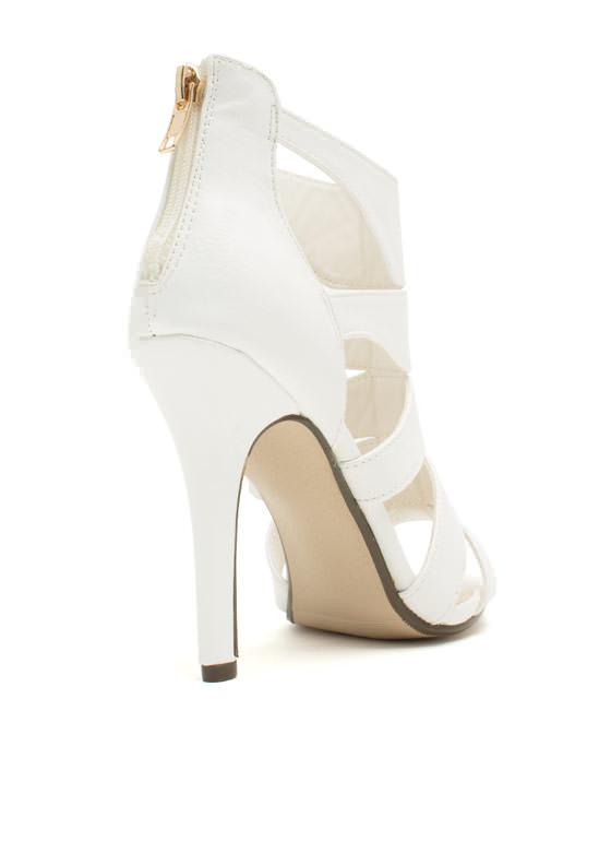 I See You Cut-Out Heels WHITE