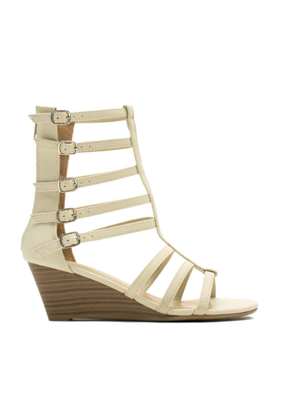 Ladderally Faux Leather Wedges OFFWHITE