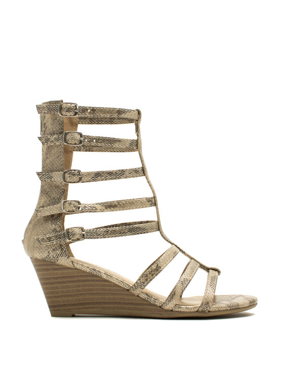 Ladderally Metallic Snake Wedges LTGOLD