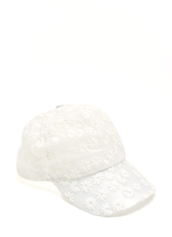 Floral Mesh Snapback Hat WHITE (Final Sale)