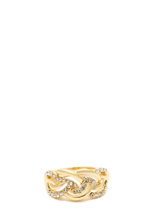 Braided Rhinestone Ring GOLD