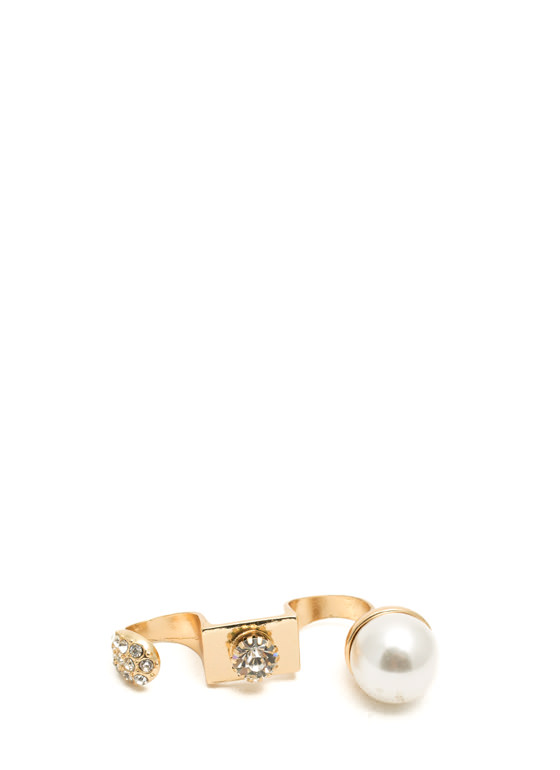 Bejeweled Triple Knuckle Ring GOLDIVORY