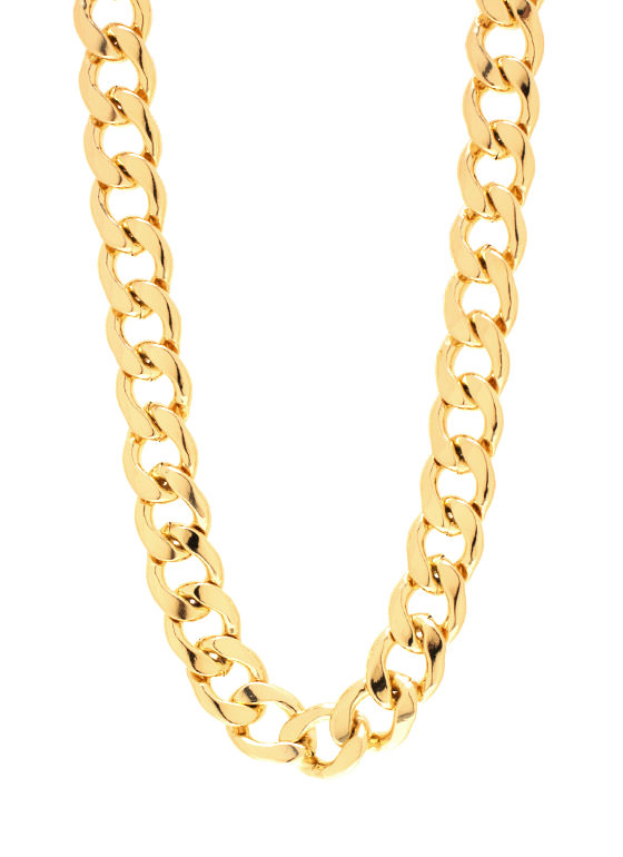 Simple Curb Link Chain Necklace Set GOLD