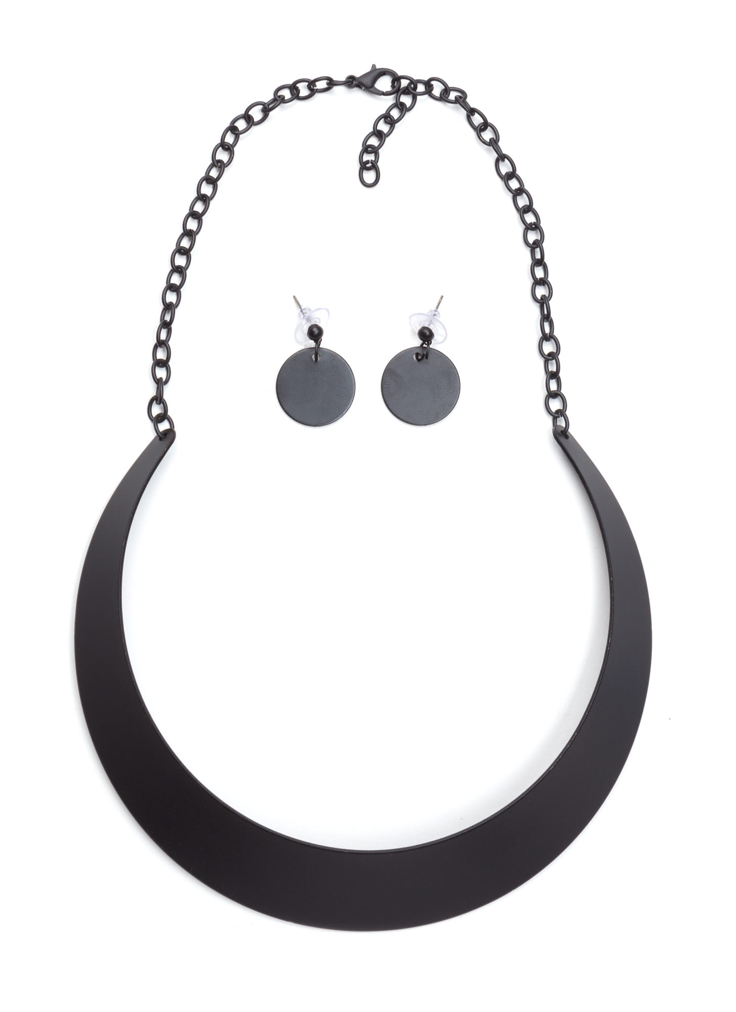 Shiny Metal Collar Necklace Set MATTEBLACK