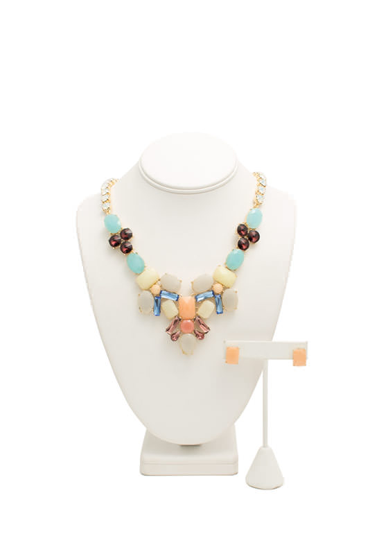 Jeweled Chain Faux Stone Necklace Set MULTI