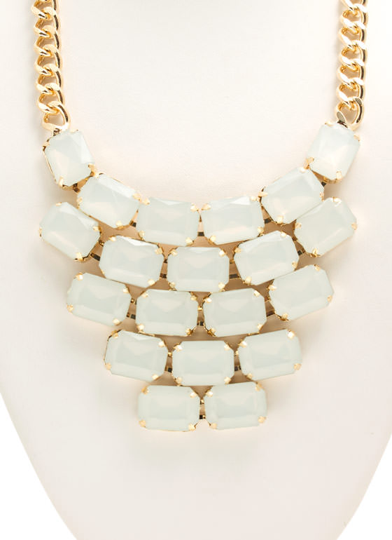 Tiled Faux Gem Bib Necklace Set WHITE