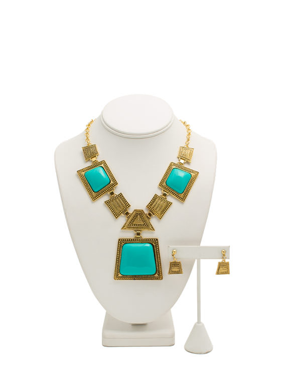 Trapezoid Faux Stone Necklace Set TURQGOLD