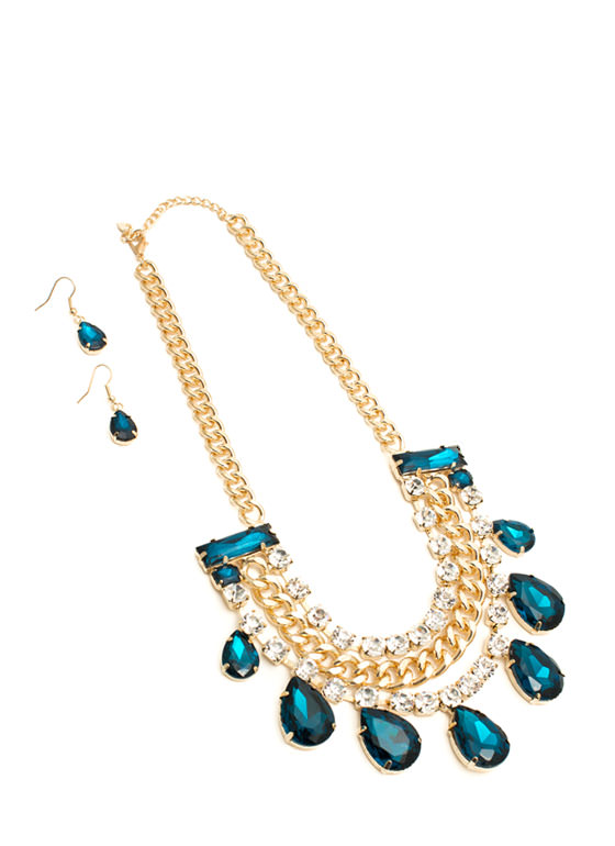 Faux Jewel Chain Bib Necklace Set BLUEGOLD