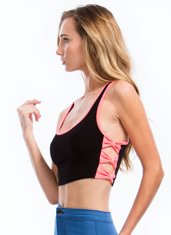 Piped Dream Bow Side Cropped Top NEONCORAL