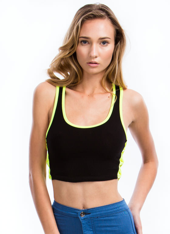 Piped Dream Bow Side Cropped Top NEONYELLOW