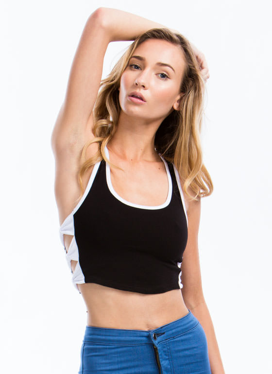 Piped Dream Bow Side Cropped Top WHITE