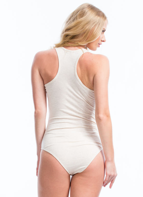 Ladder Rinse Repeat Strappy Bodysuit OATMEAL