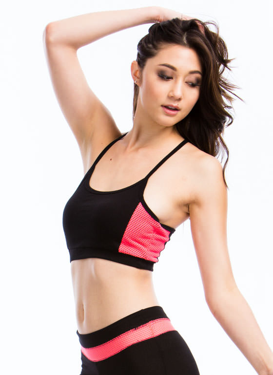 Sweat It Out Neon Mesh Sports Bra NEONPINK