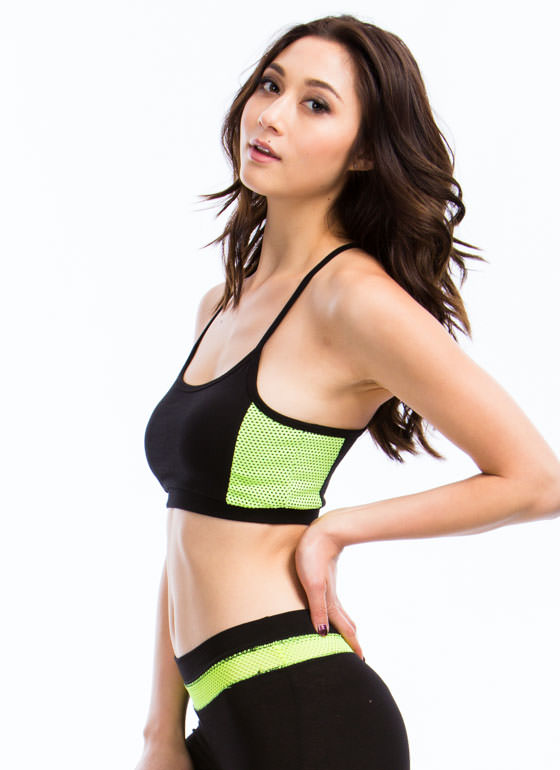 Sweat It Out Neon Mesh Sports Bra NEONYELLOW