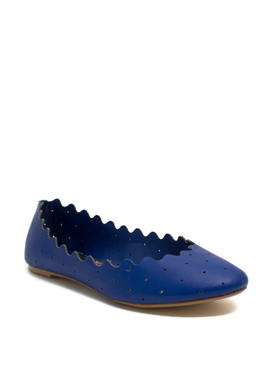 Ride The Waves Perforated Flats BLUE