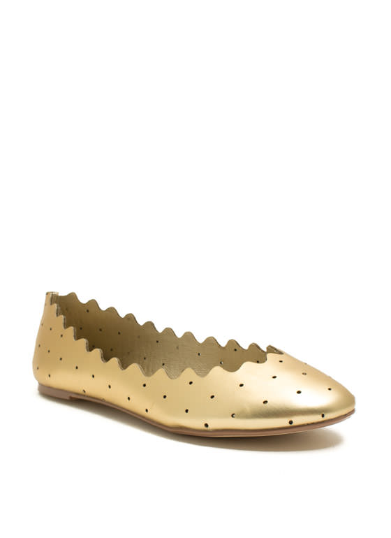 Ride The Waves Perforated Flats GOLD