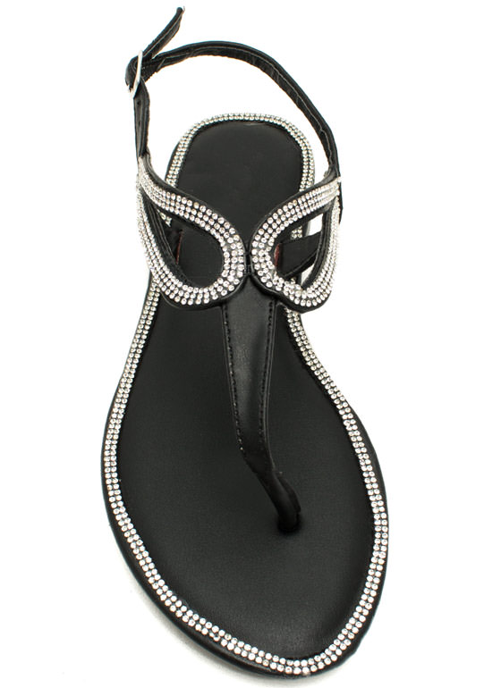 In The Loops Jeweled T-Strap Sandals BLACK