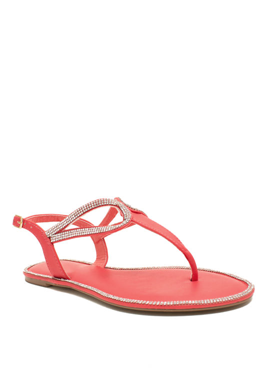 In The Loops Jeweled T-Strap Sandals CAYENNE
