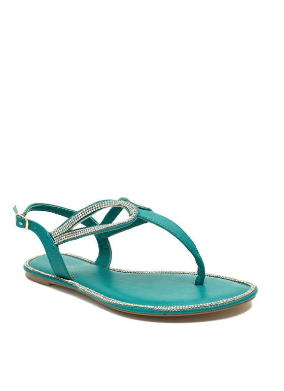 In The Loops Jeweled T-Strap Sandals SEAFOAM