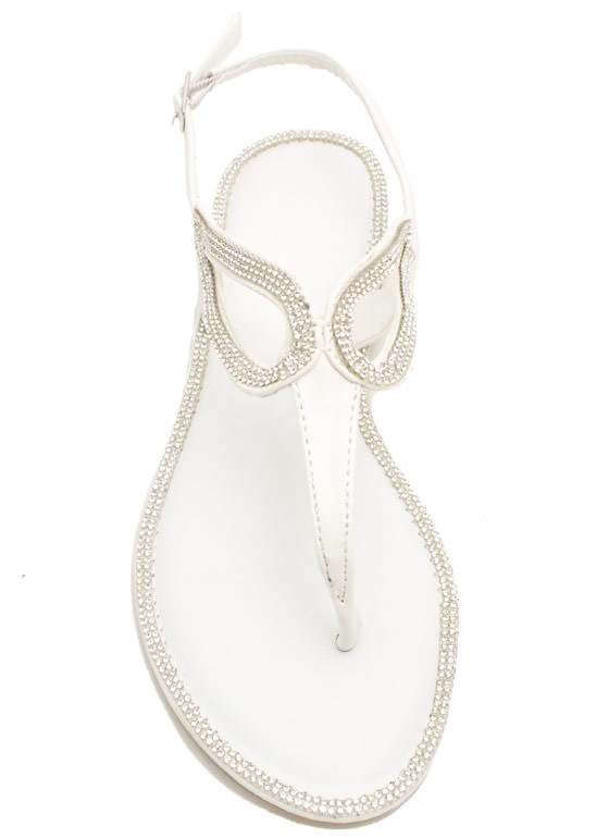 In The Loops Jeweled T-Strap Sandals WHITE