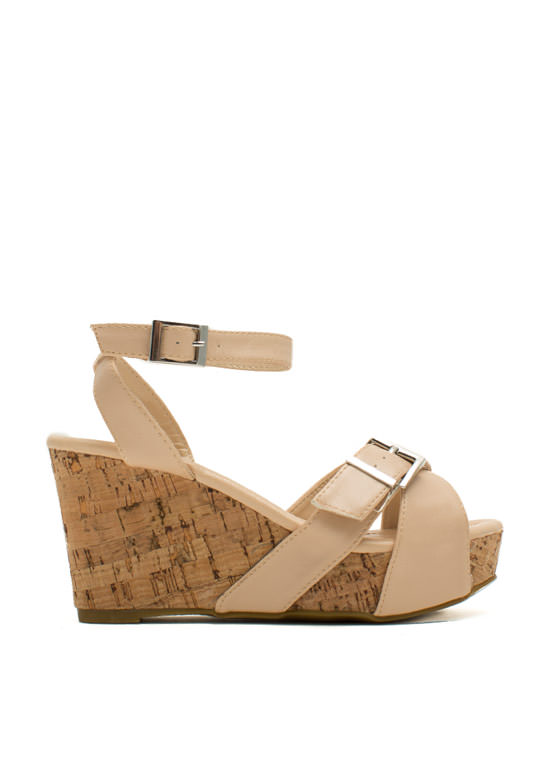 X Marks The Buckled Faux Cork Wedges NUDE