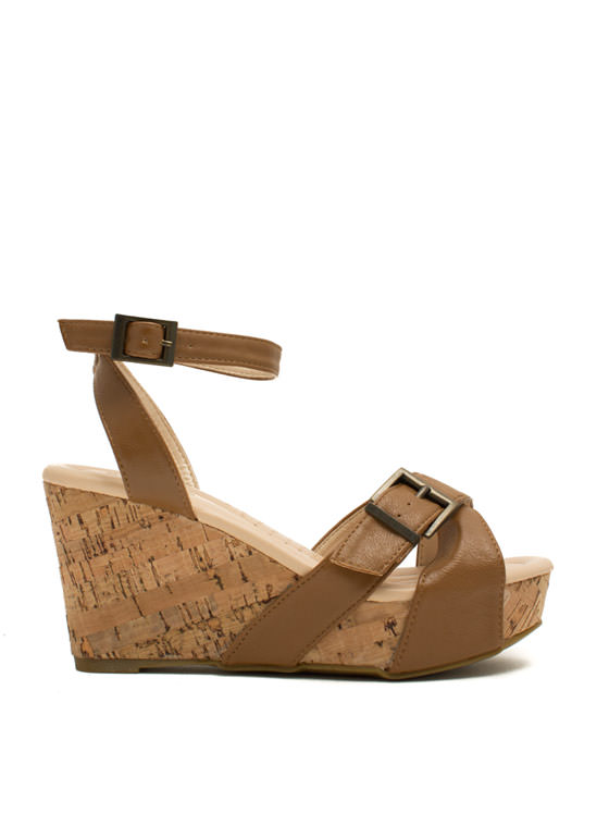 X Marks The Buckled Faux Cork Wedges TAN