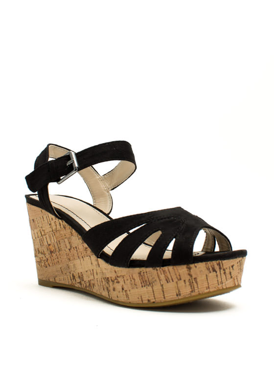 Faux Suede Peep-Toe Wedges BLACK