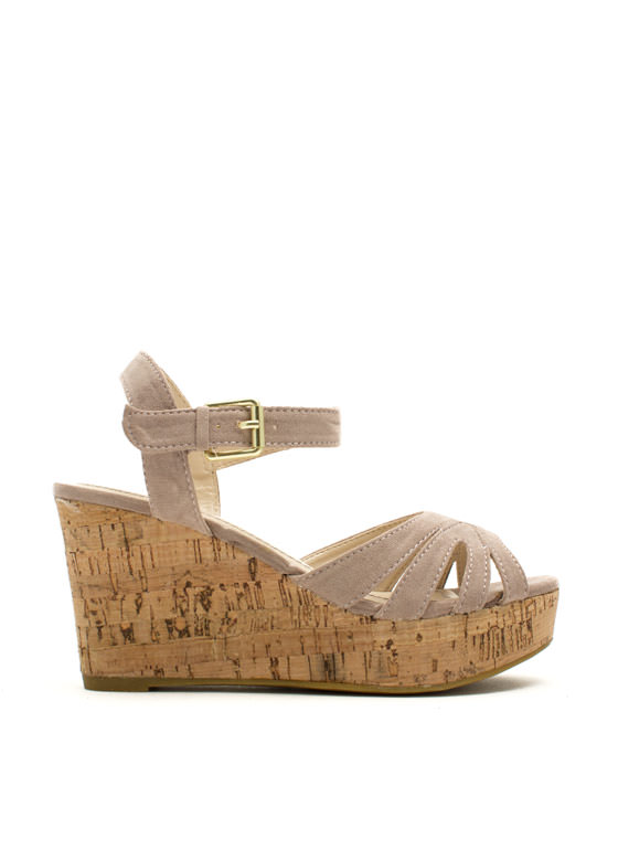 Faux Suede Peep-Toe Wedges NUDE