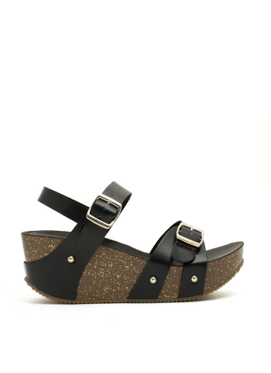 One Two Double Buckle Wedges BLACK