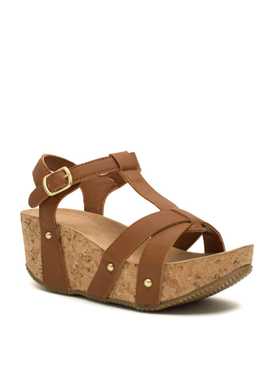 Strap Out Of It Faux Cork Wedges CHESTNUT