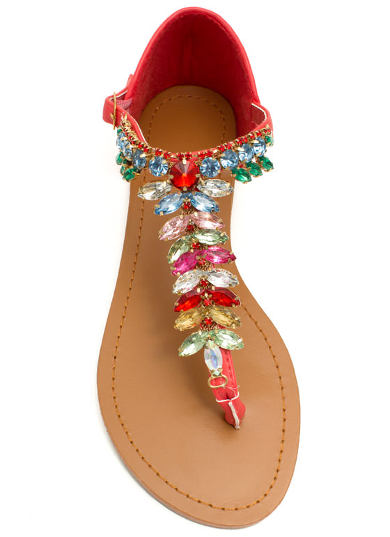 Almond Or Nothing Jeweled Sandals CAYENNE