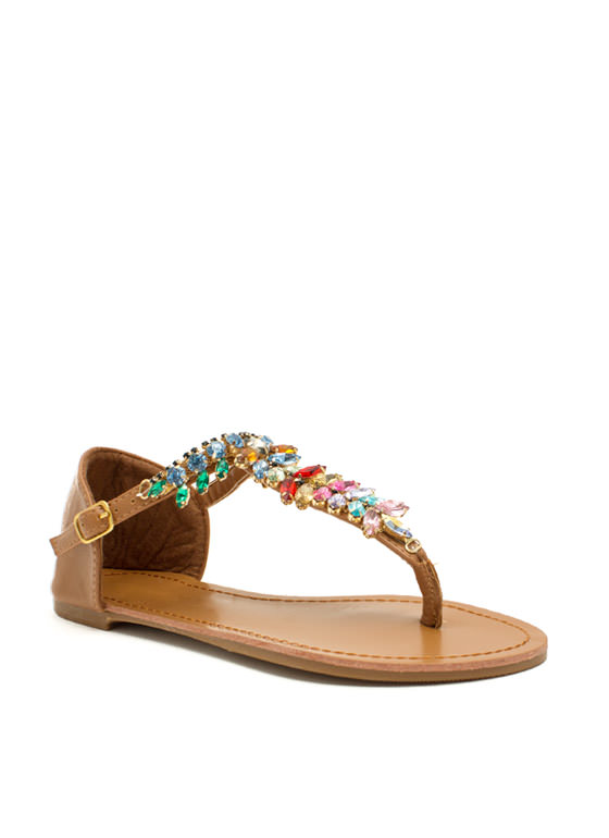 Almond Or Nothing Jeweled Sandals TAN