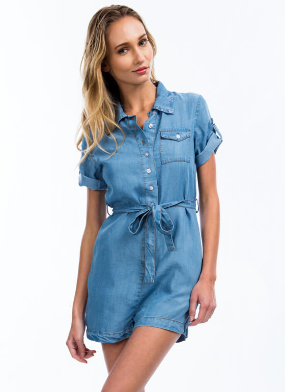Collared Chambray Romper LTBLUE (Final Sale)