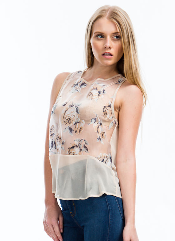 Rose Garden Organza Top CREAM
