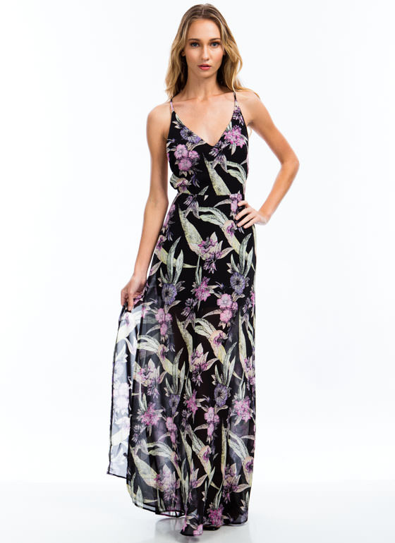 Tropical Daze Floral Maxi BLACK