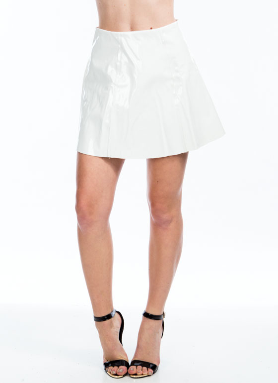 As If High Shine Skater Skirt WHITE