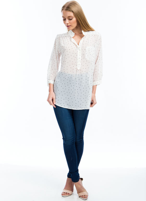 Read My Polka Face Dotted Blouse IVORY (Final Sale)