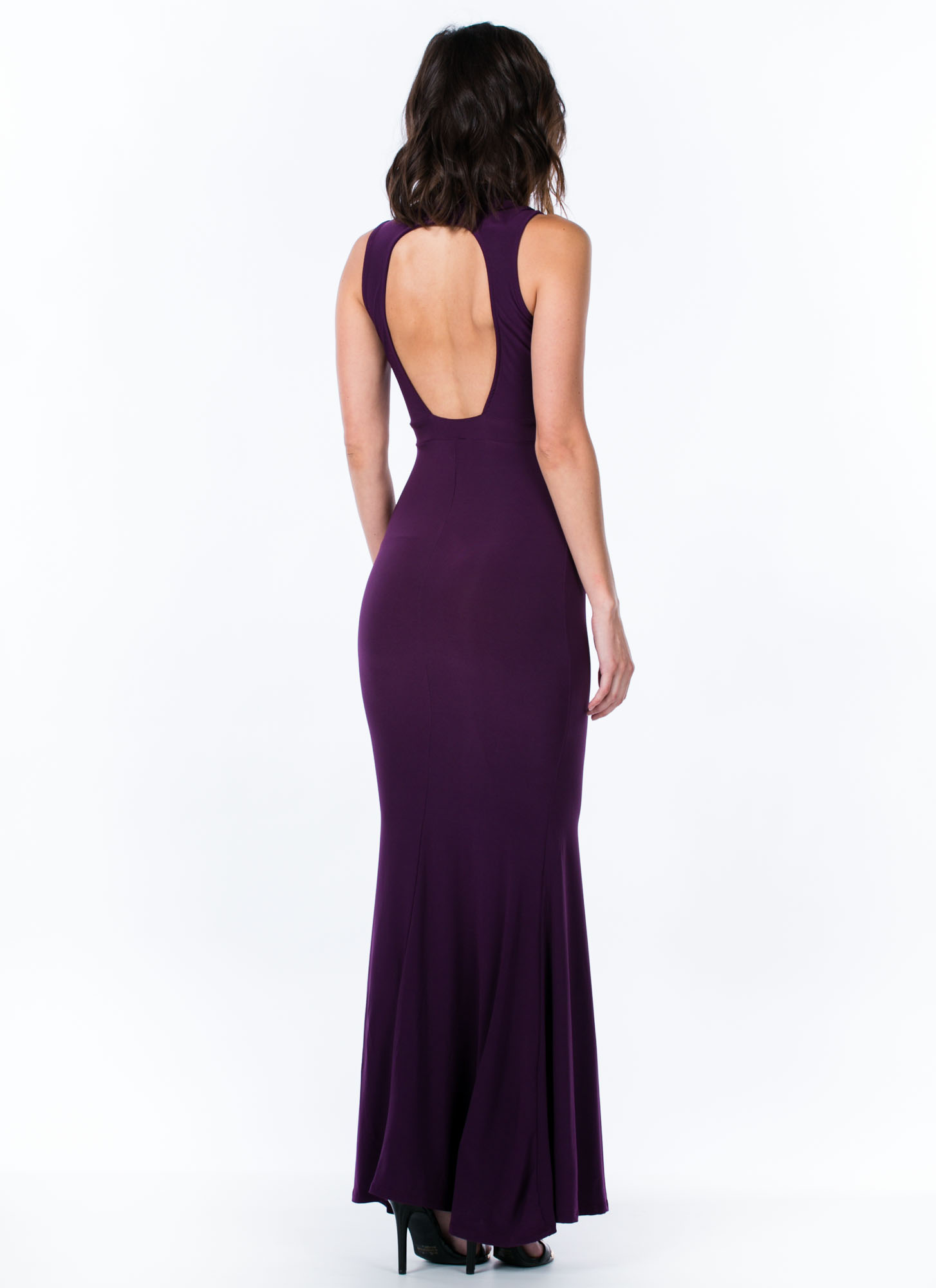Mermaid To Order Cut-Out Maxi Dress PLUM (Final Sale)