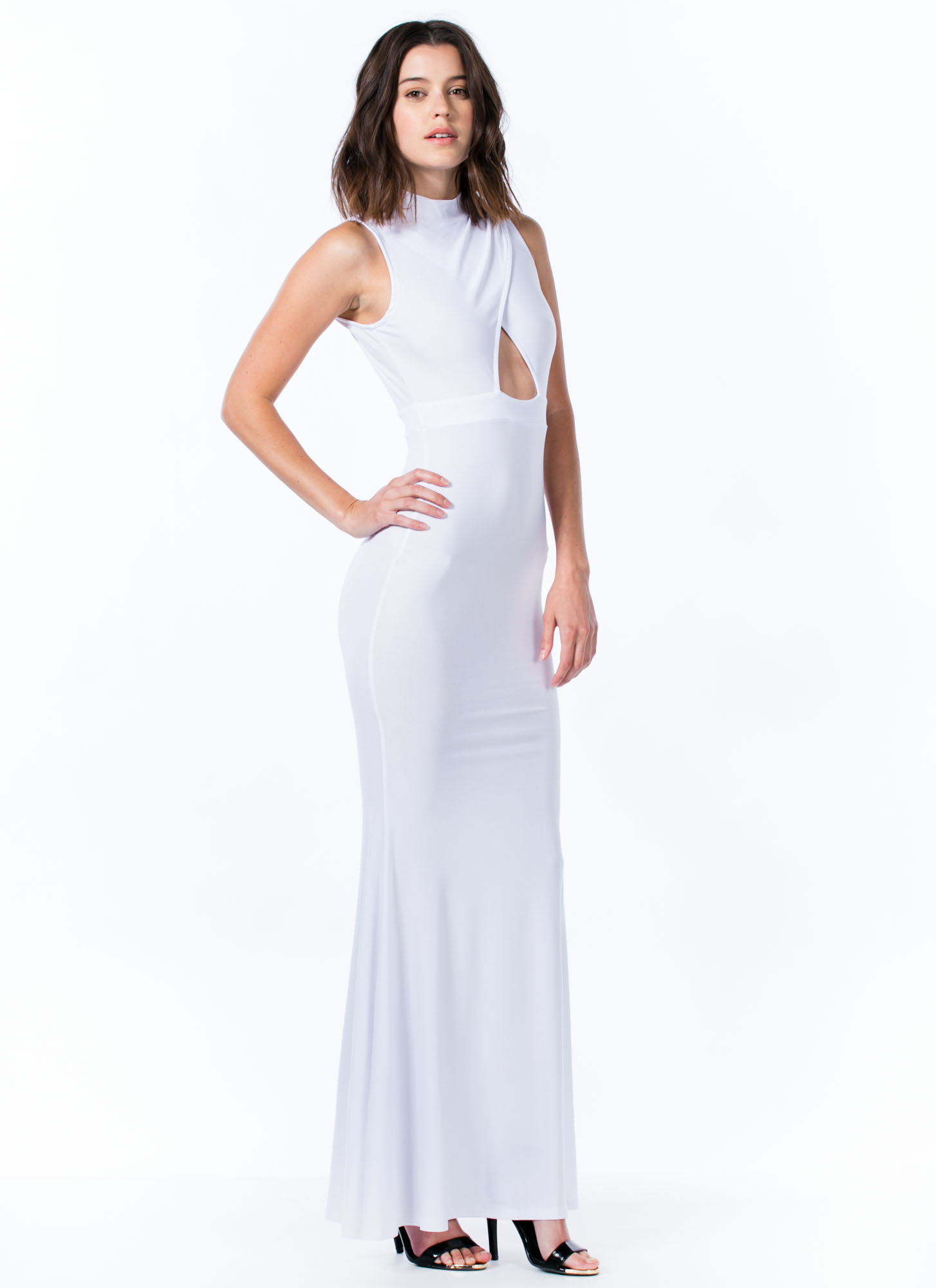 Mermaid To Order Cut-Out Maxi Dress WHITE (Final Sale)